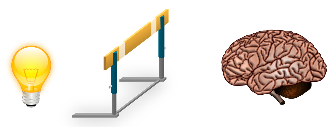 Lightbulb -> Hurdle -> Brain